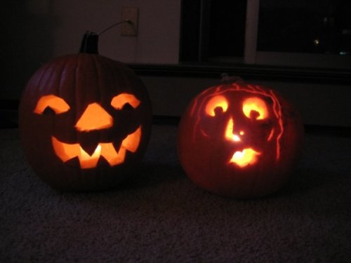 Joe the Pumpkin (left, not to be mistaken for Joe the Plumber) and Suzie the pumpkin (right)