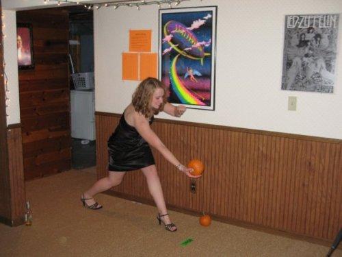 Maggie pumpkin bowling